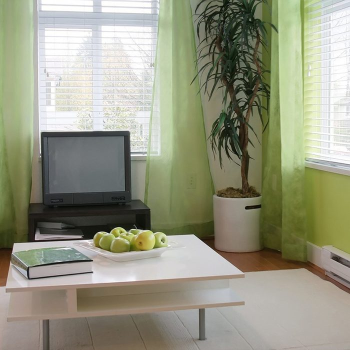 Living room with tv and table