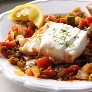 Pressure-Cooker Tomato-Poached Halibut