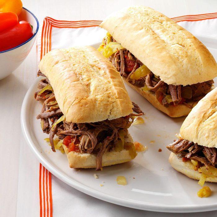 Pressure-Cooker Italian Beef Sandwiches