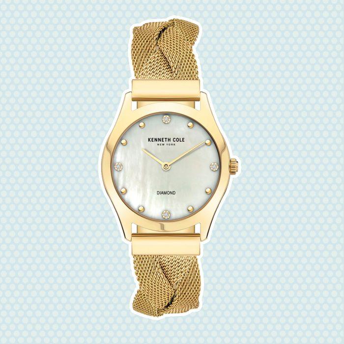 wedding anniversary gifts Kenneth Cole New York Diamond Accent Braided Mesh Bracelet Watch