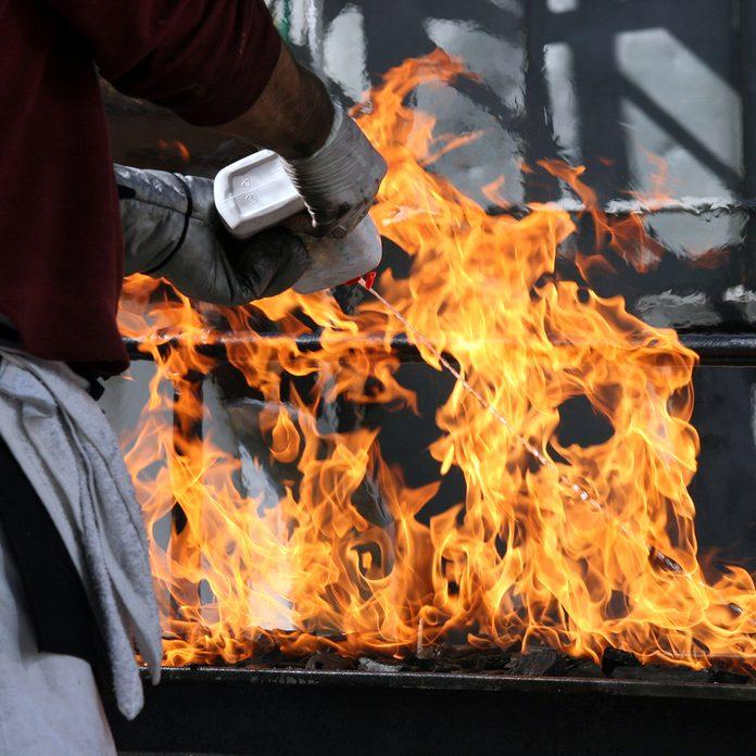 grilling safety Lighter Fluid On Barbeque