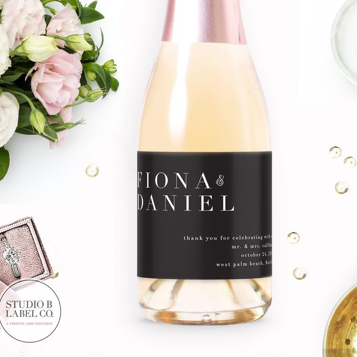 wedding thank you gifts Mini Champagne Label Wedding Favors 1