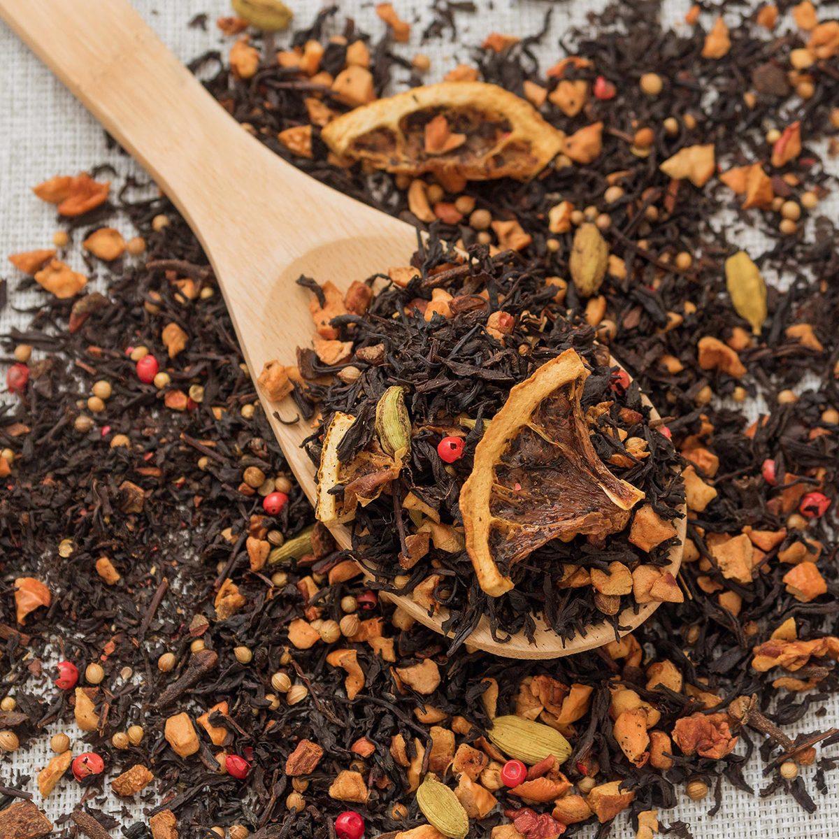 Loose leaf tea with dried oranges
