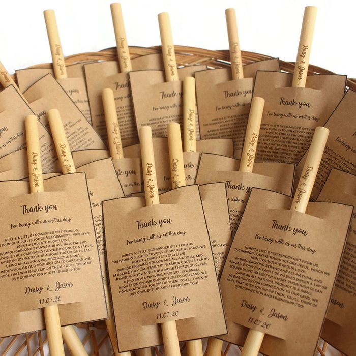 wedding thank you gifts Personalized Engraved Bamboo Straws 8