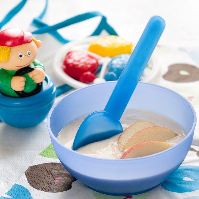 A bowl of porridge for baby.