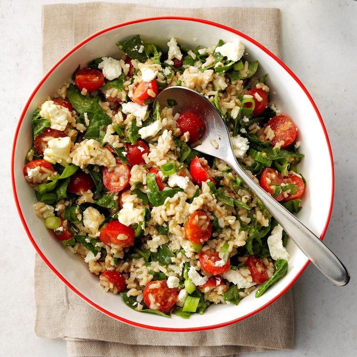 Mediterranean Brown Rice Spinach Salad
