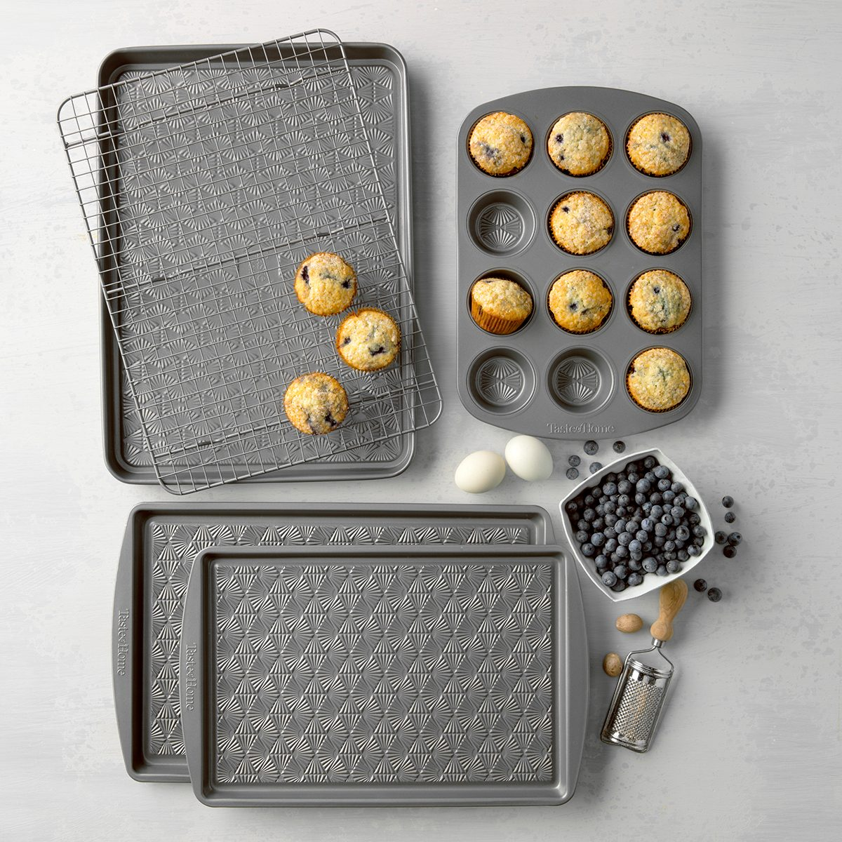 TOH Bakeware, blueberry muffins and baking pans
