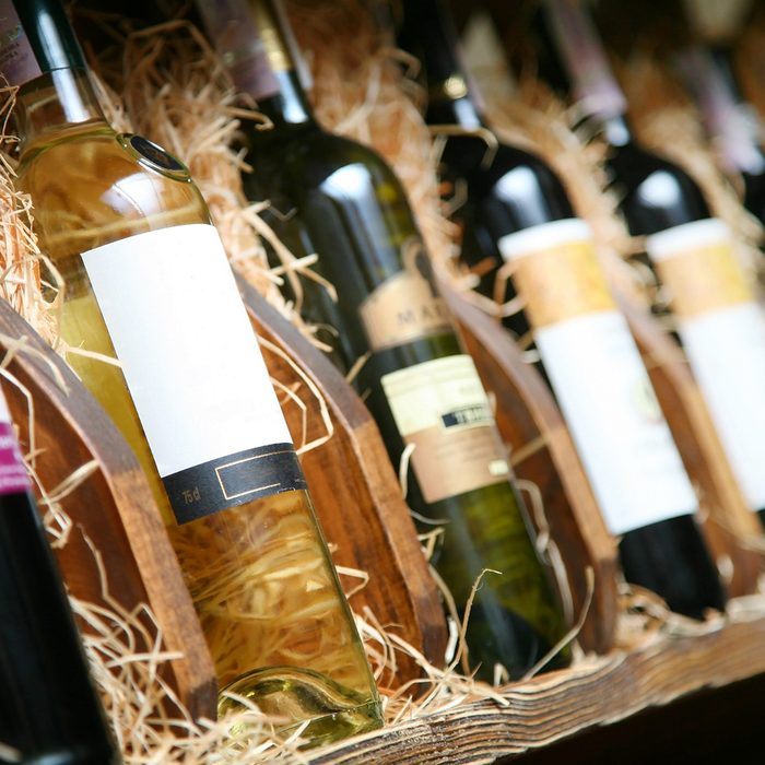 Closeup shot of wine shelf.