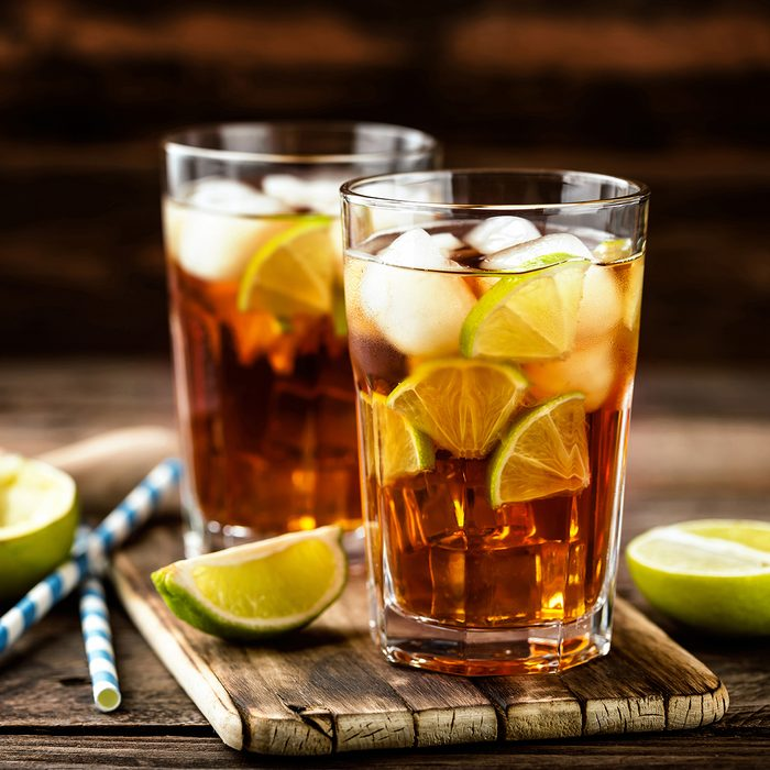 Cuba Libre or long island iced tea cocktail with strong drinks