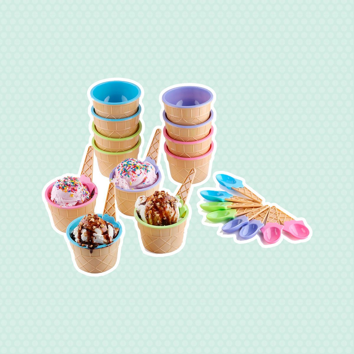 Greenco Vibrant Colors Dessert Bowls and Spoons