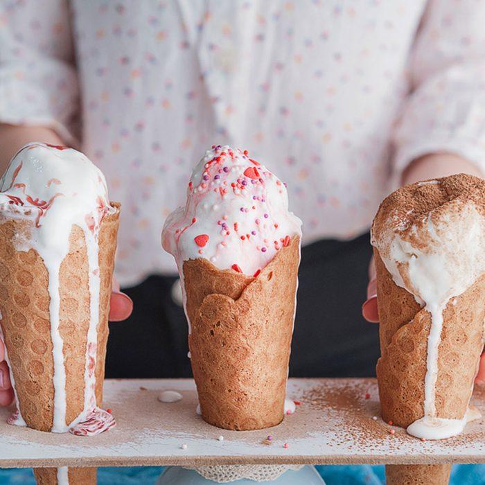 Three ice cream cones in a row