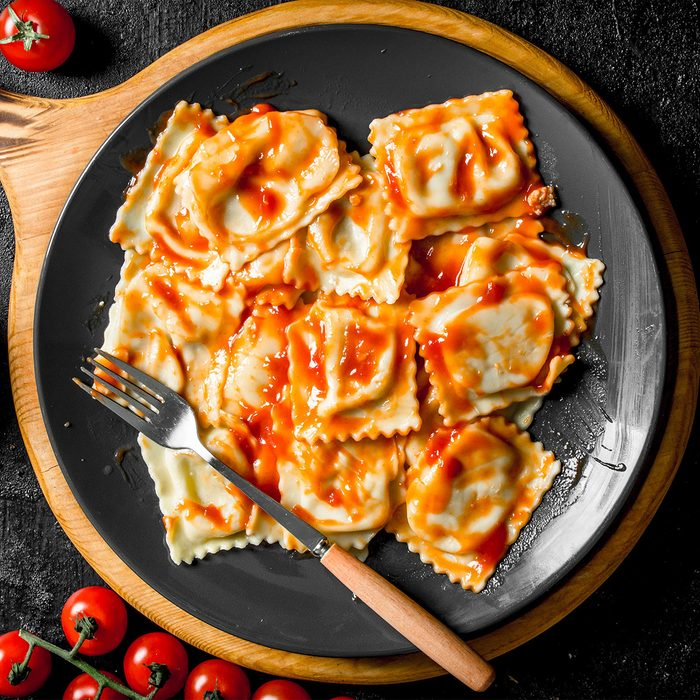 Ravioli with veal and tomato sauce.