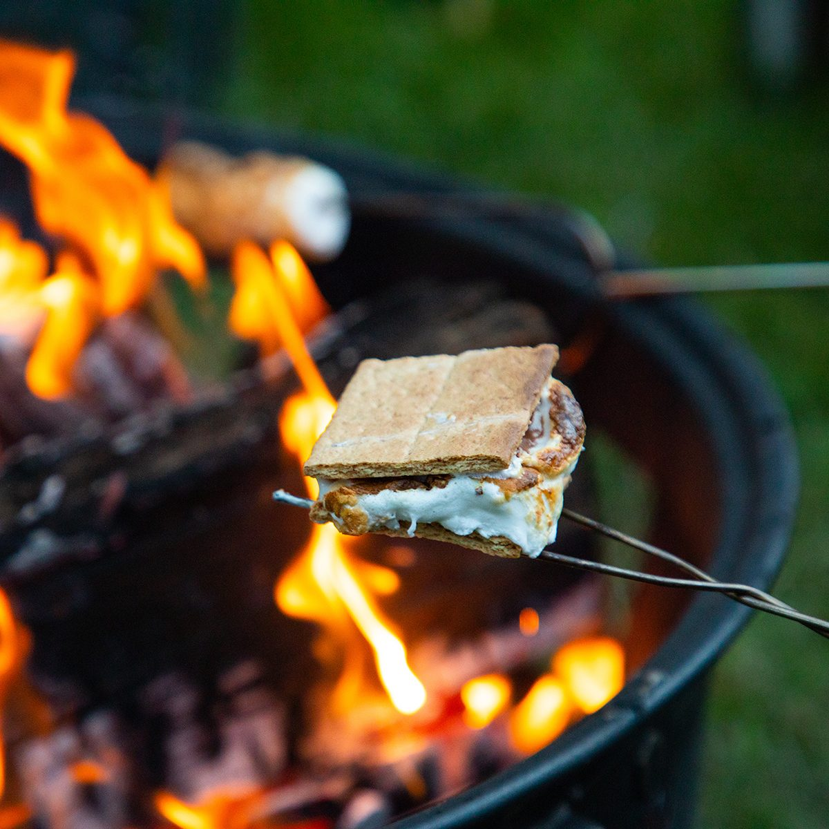 Cooking s'mores on a cool summer night in the mountains of northern Idaho