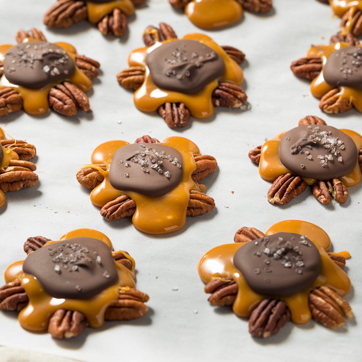 Homemade Sweet Chocolate Caramel Turtles with Pecans