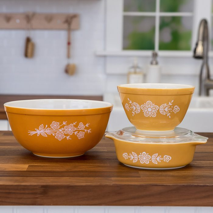 Vintage Pyrex bowls in Butterfly Gold pattern