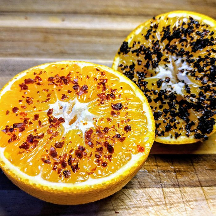 Oranges and chili flakes