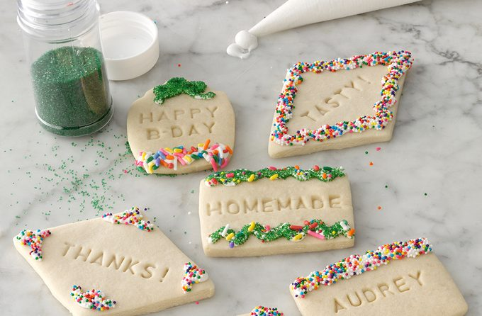 Decorated stamped message cookies