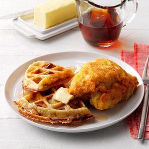 Savory Mustard Chicken and Stuffing Waffles