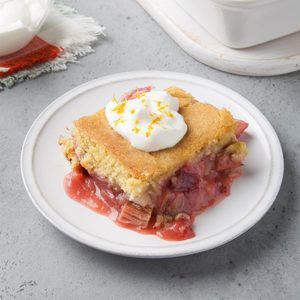 Strawberry Rhubarb Cake with Orange