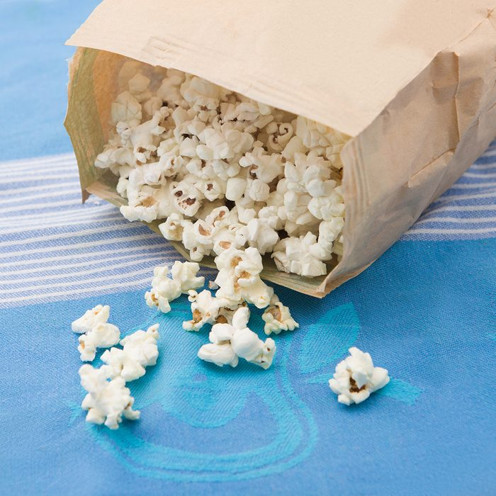 microwave popcorn, on traditional tablecloth