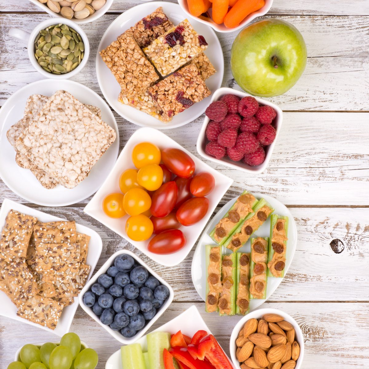 Healthy snacks on wooden table