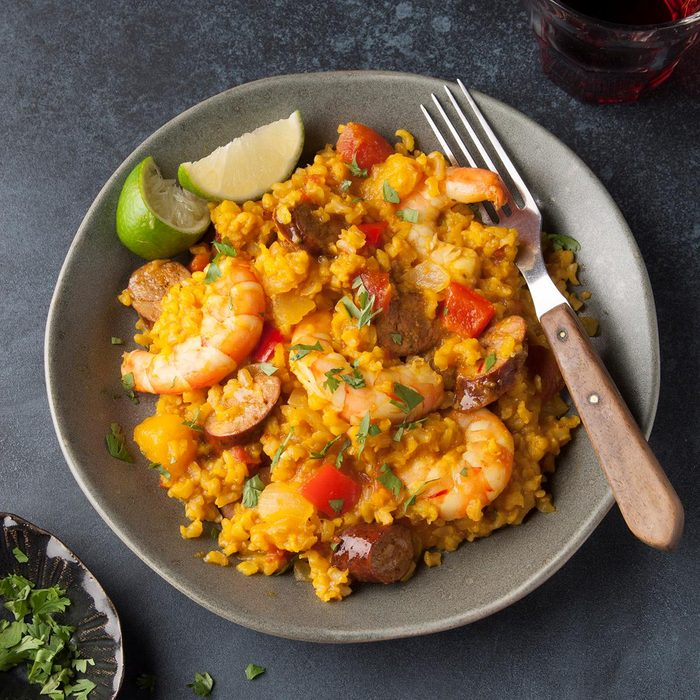 Grilled Chorizo And Shrimp Paella Exps Ft19  50438 F 0717 1