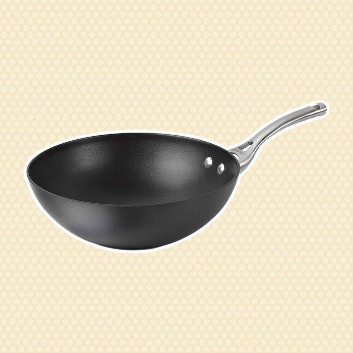 Calphalon Contemporary Hard-Anodized Aluminum Nonstick Cookware, Flat-Bottom Wok, 10-inch, Black - 1877054