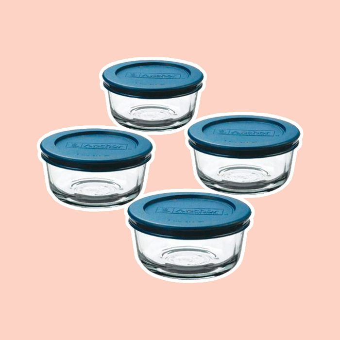 Anchor Hocking Classic Glass Food Storage Containers with Lids, Blue, 1 Cup (Set of 4)