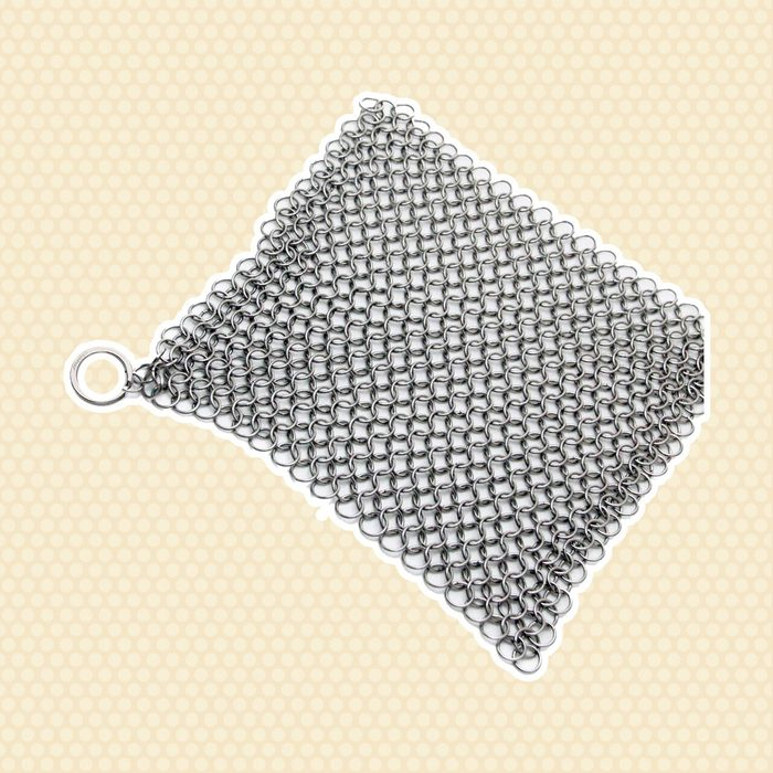 """Amagabeli 8""""x6"""" Stainless Steel Cast Iron Cleaner 316L Chainmail Scrubber for Cast Iron Pan Pre-Seasoned Pan Dutch Ovens Waffle Iron Pans Scraper Cast Iron Grill Scraper Skillet Scraper"""