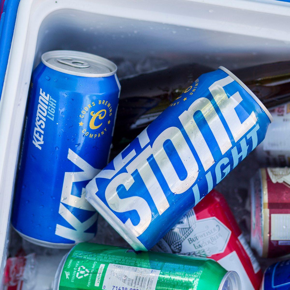Keystone Light beer in a cooler