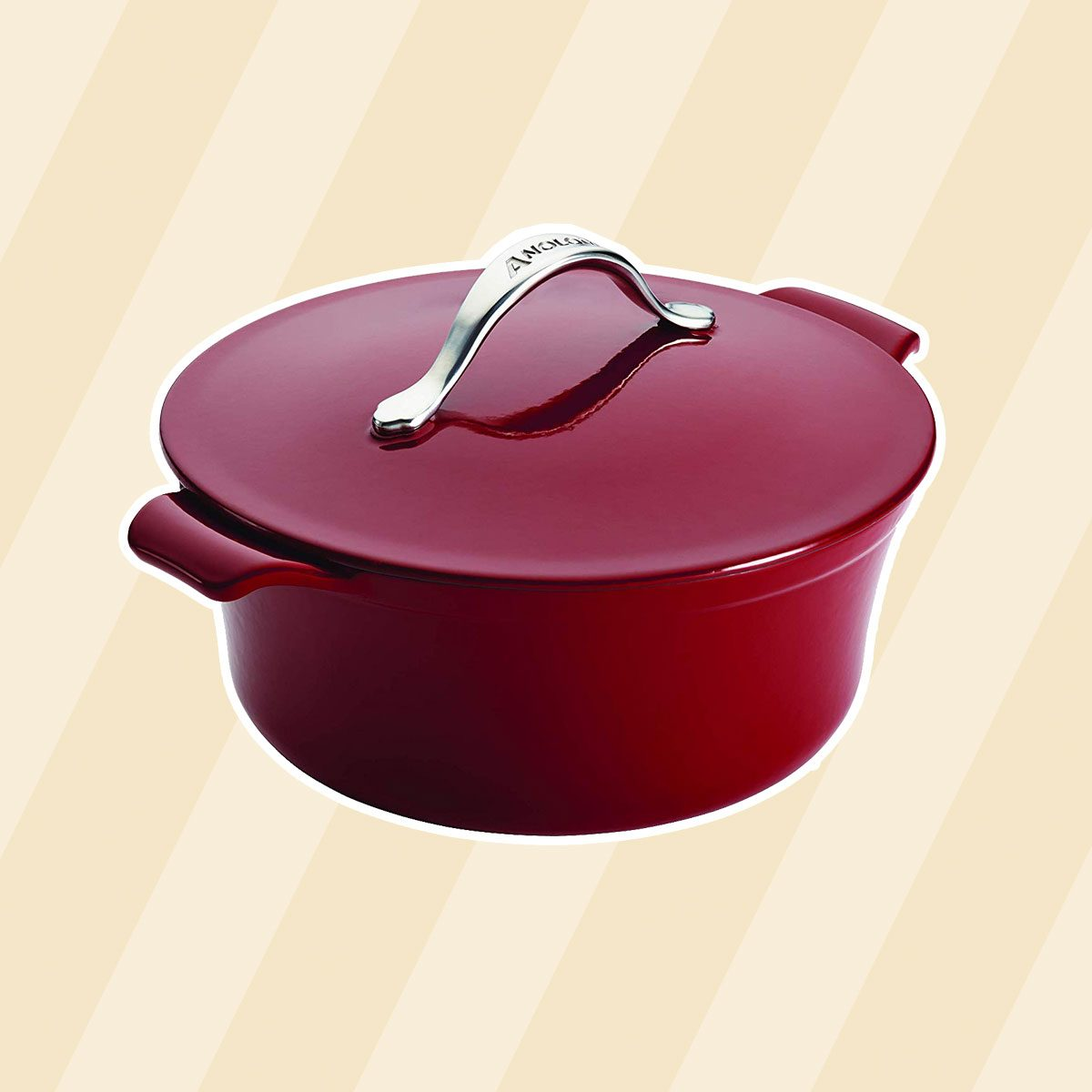 Anolon Vesta Cast Iron Cookware 5-Quart Round Covered Dutch Oven, Paprika Red