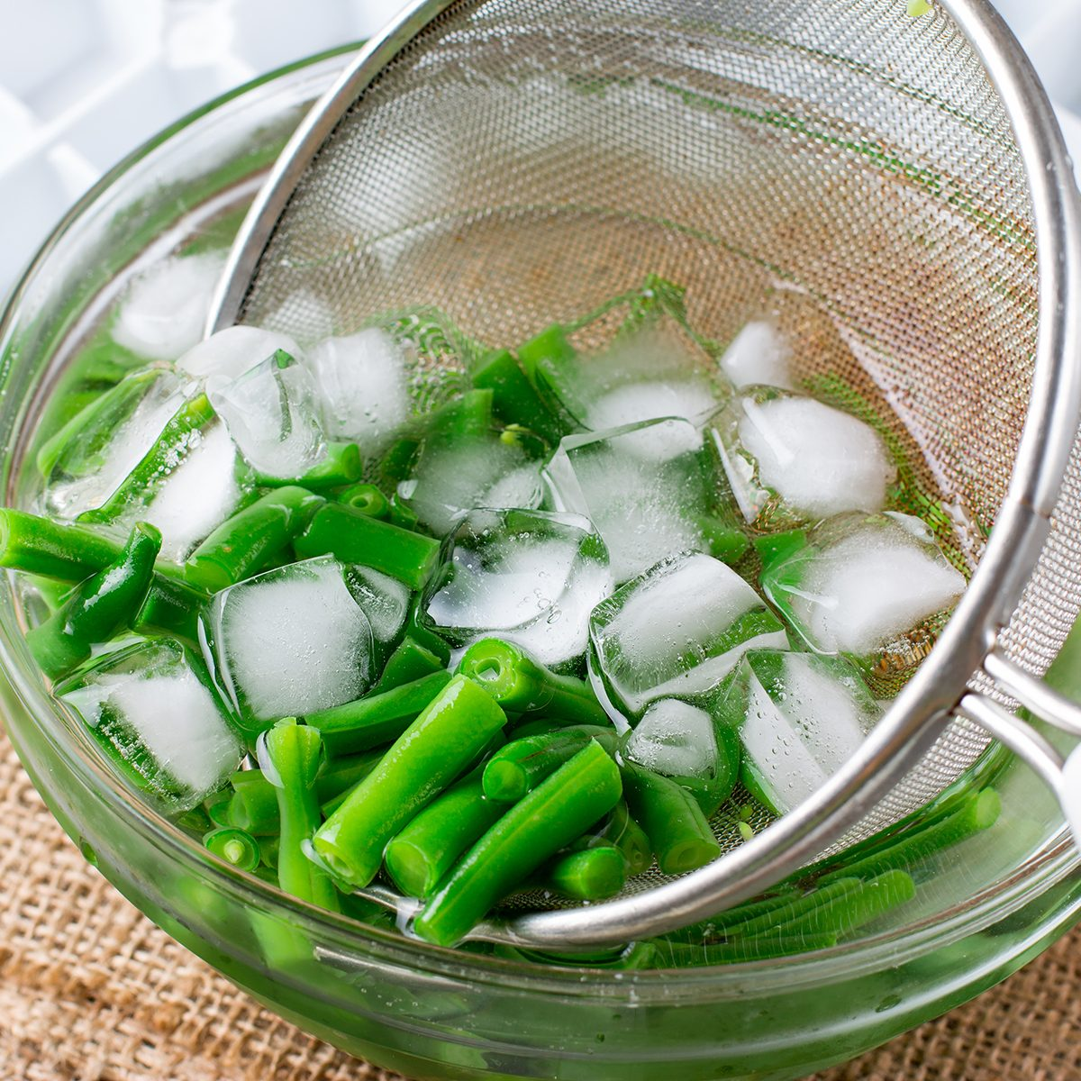 Boiled vegetables, green beans