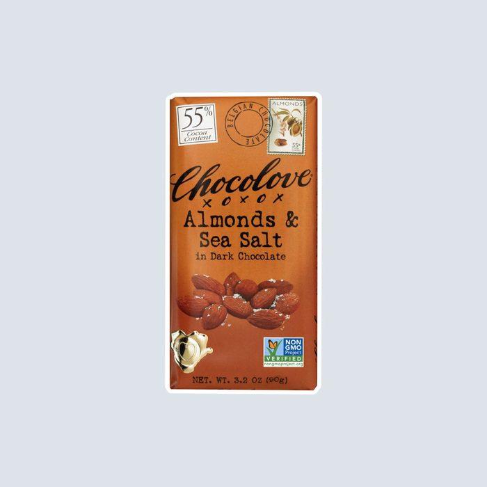 Vegan chocolate bars, Chocolove Almonds & Sea Salt in Dark Chocolate