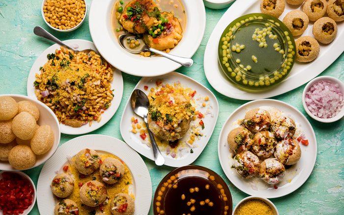 group of Bombay chat food includes golgappa/panipuri, bhel-puri, sev-poori, dahipuri, Ragda pattice, raj kachori etc. selective focus