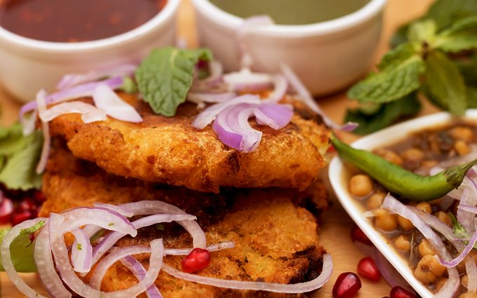Indian famous street food tikki with its ingredient