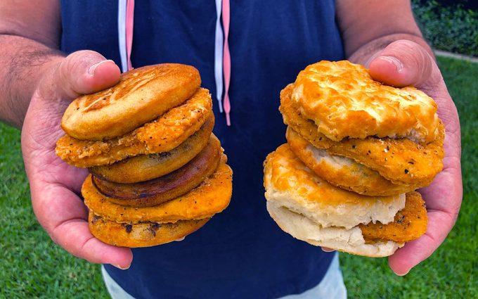 Chicken McGriddle and McChicken Biscuit held in hands