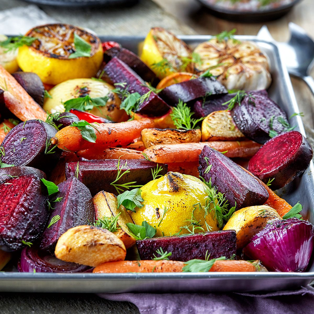 Various roasted fruits and vegetable