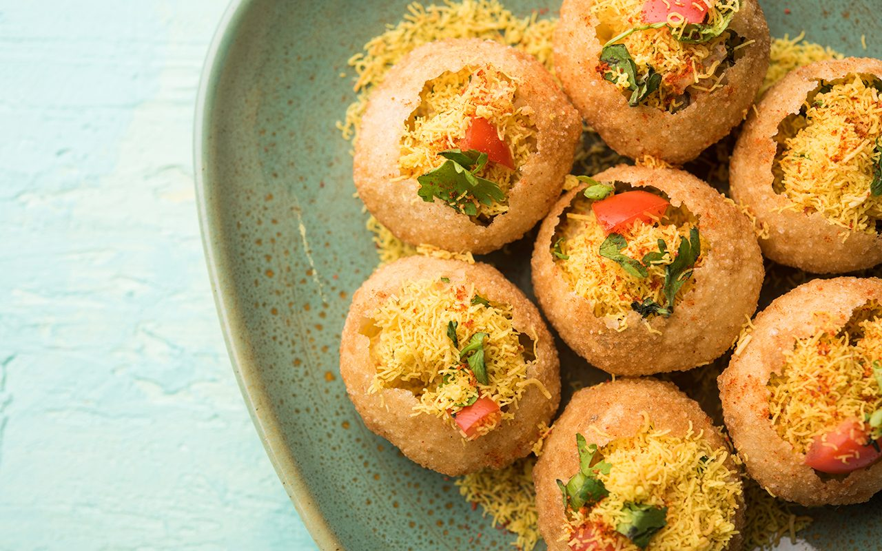 Sev puri - Indian snack and a type of chaat.