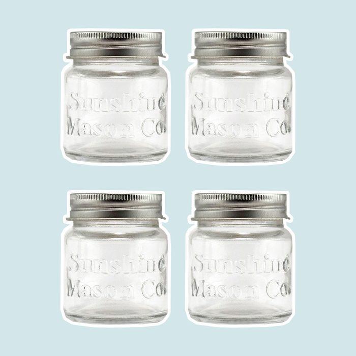 Sunshine Mason Co. Mini Mason Jar Shot Glasses with Metal Lid 2 Ounces, 6 Pieces