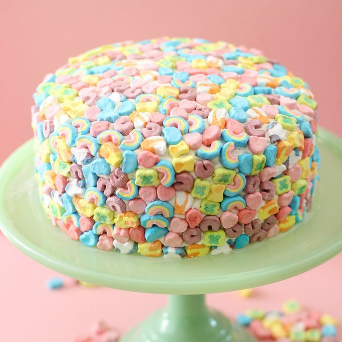 birthday cake that is covered in Lucky Charms marshmallows from Kristin Prough of BlissMakes.