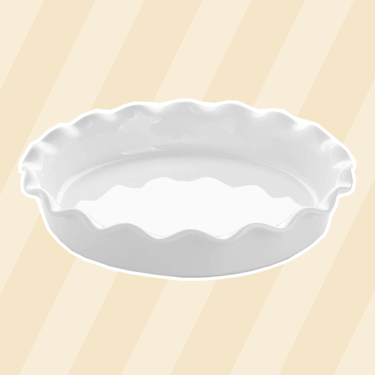 Sweese 518.101 Porcelain Pie Pan, Round Pie Plate Baking Dish with Ruffled Edge, 10.5 Inches, White