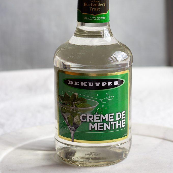 Bottle of Creme de Menthe liqueur