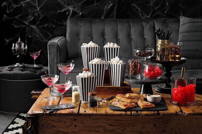 Garlic Pizza Wedges; Vampire Killer Martini; Opener; Party Scene; Opener Spread; Spooky