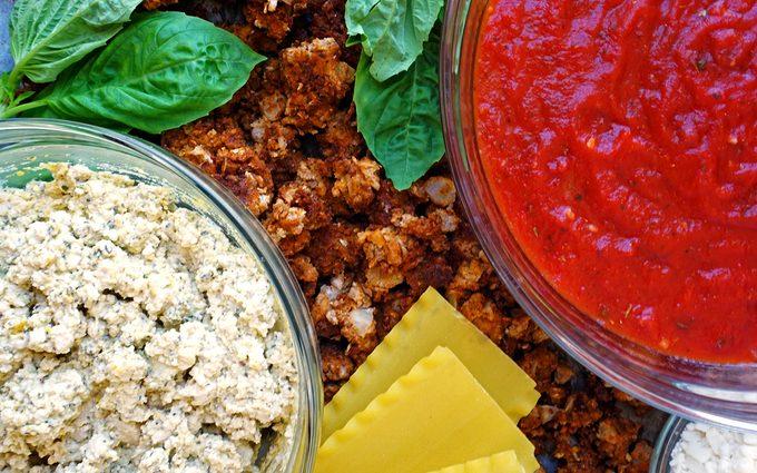 Ingredients for vegan lasagna photo