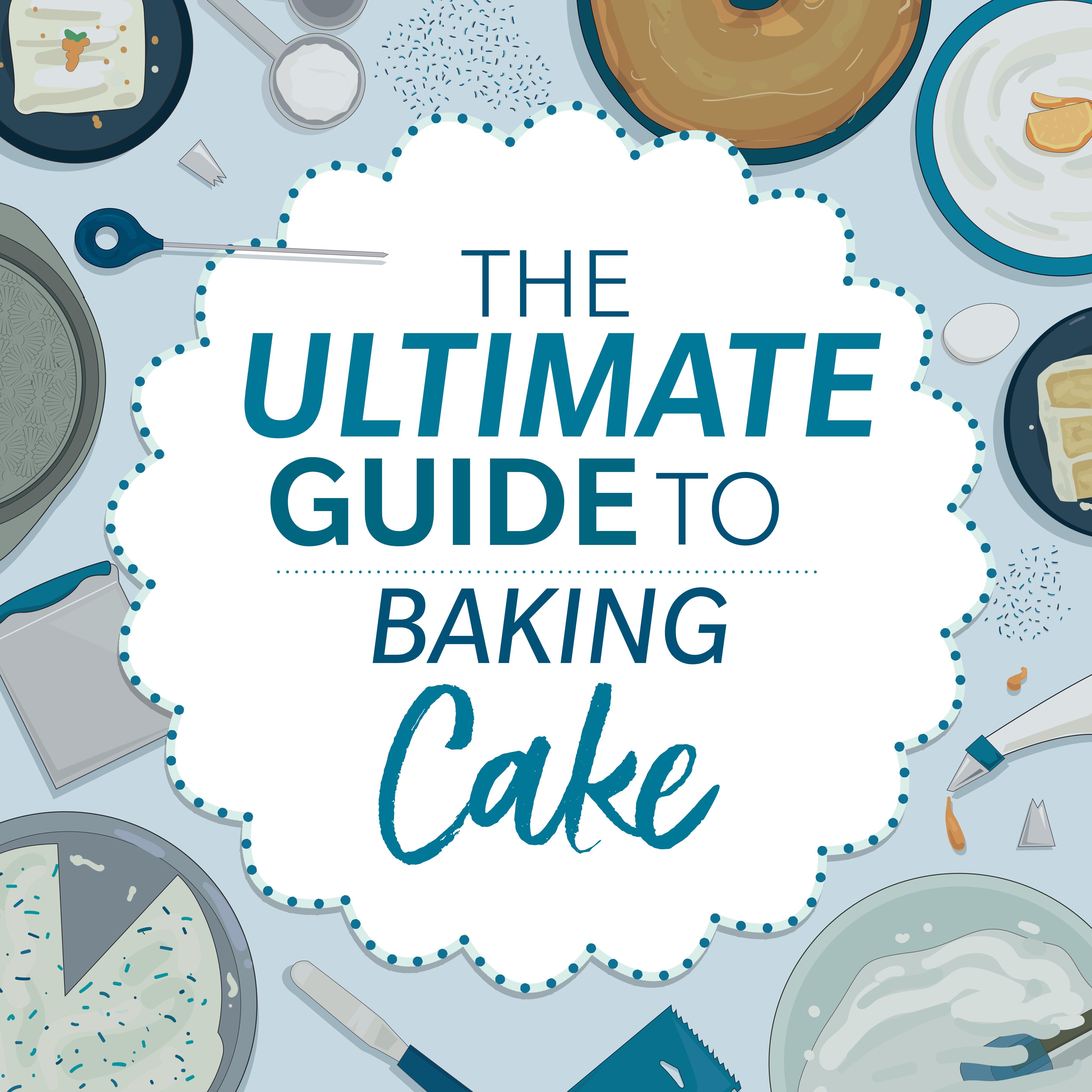 bakeable cake supplies on blue background illustration