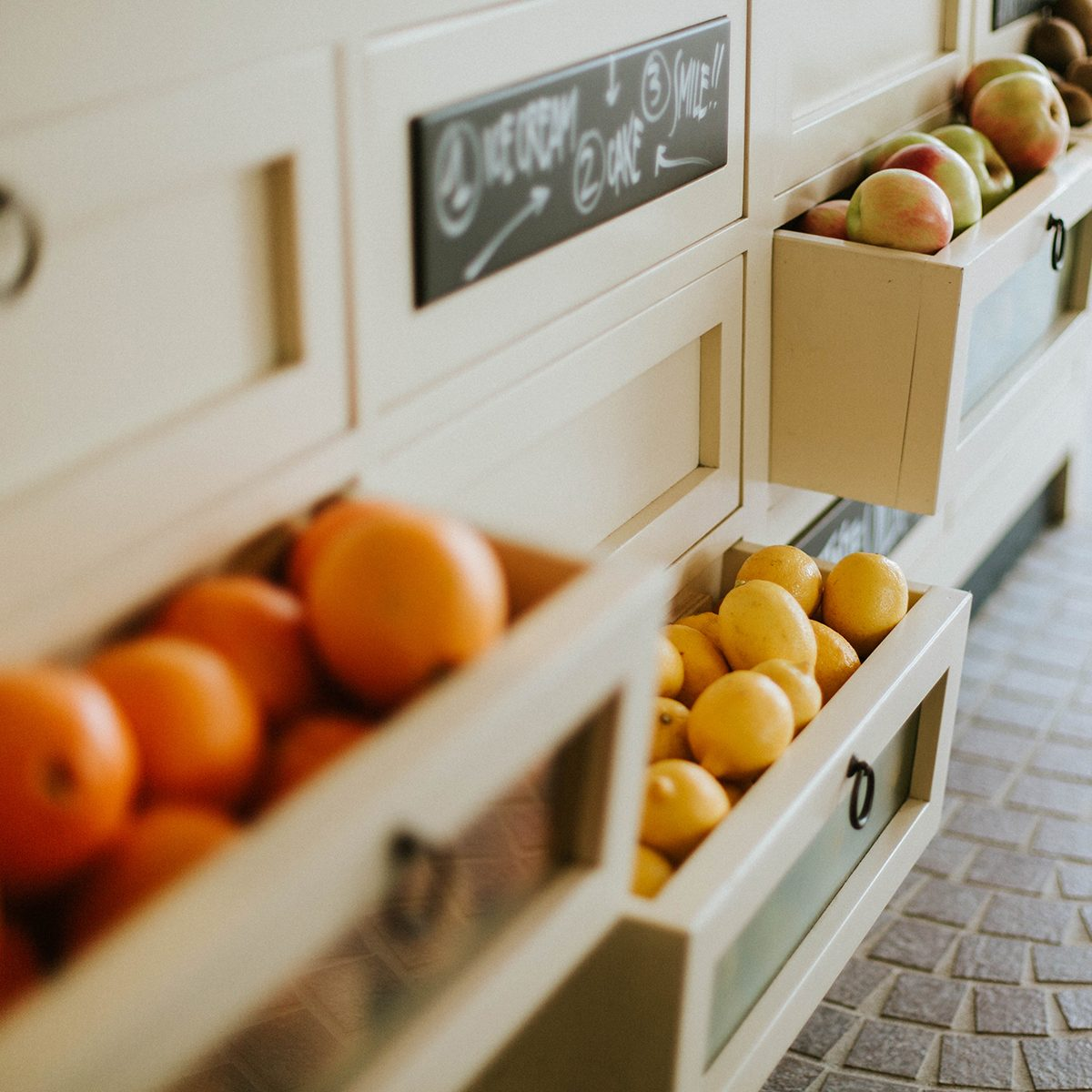 Fruits In Drawer Of Cabinet