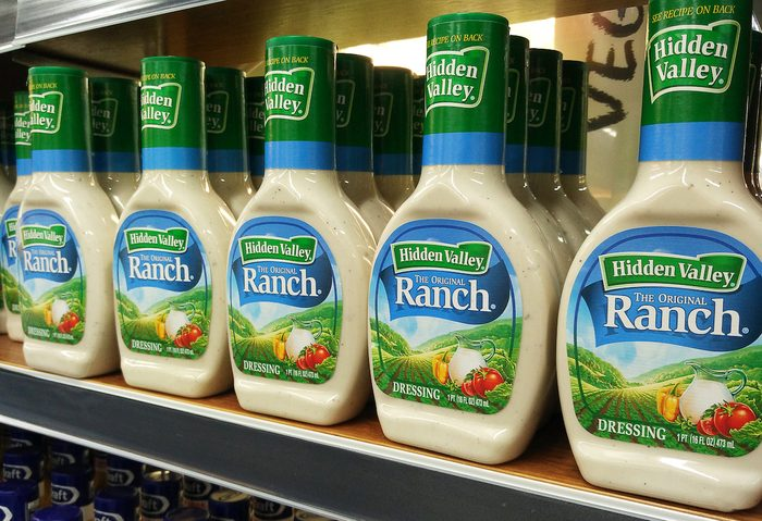 Hidden Valley brand of Ranch Dressing on supermarket shelf. Ranch dressing has been the best-selling salad dressing in the United States since 1992.
