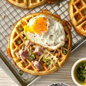 Savory Waffles with Asparagus, Gruyere and Onion
