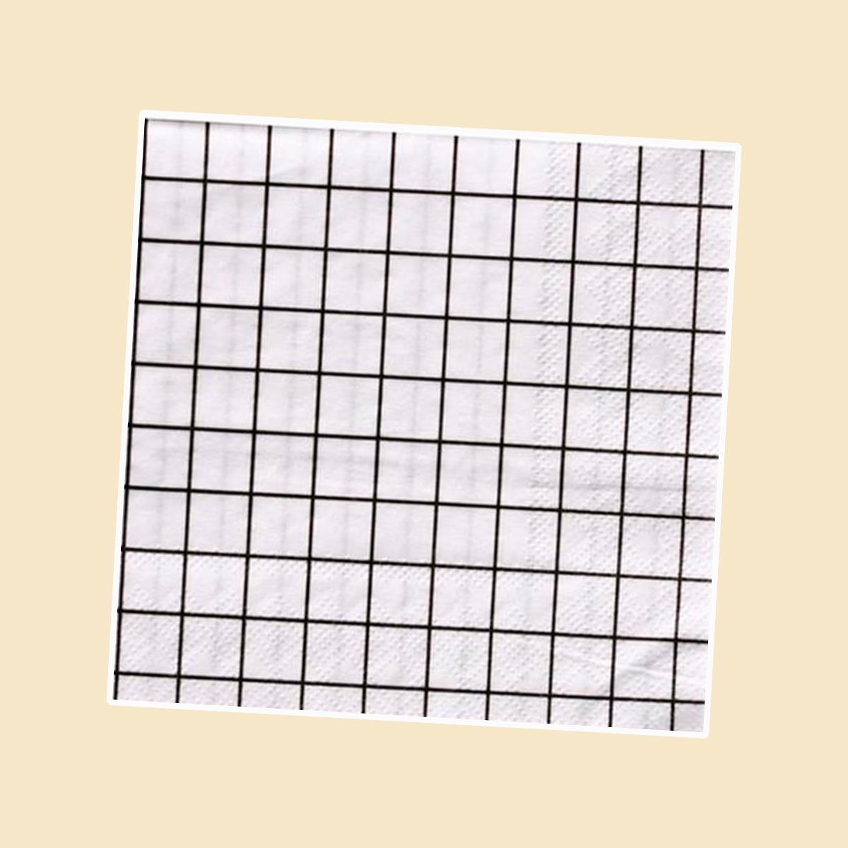 BLACK AND WHITE GRID OH HAPPY DAY BEVERAGE NAPKINS