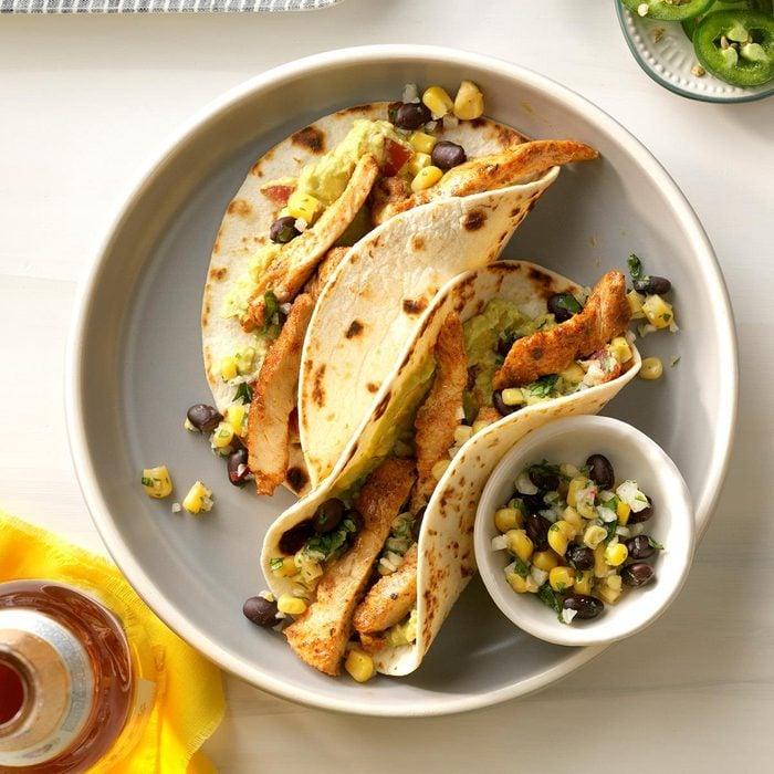 Chicken Street Tacos with Corn-Jicama Salsa